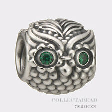 Authentic Pandora Sterling Silver Wise Owl Green CZ Bead 791211CZN