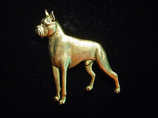 """JJ"" Jonette Jewelry Antique Gold Pewter PIT BULL TERRIER Dog Puppy Pin"