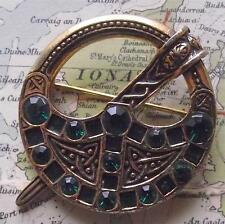 Miracle Scottish Celtic Gilded Penannular Brooch Faceted Emerald Coloured Stones