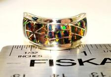 BLACK RED Gold FIRE OPAL Wide Band Ring! Wave Men's 13.5 14 Sterling SIlver 925