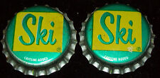Lot of 2 Vintage Ski Unused Soda Pop Bottle Caps Cork Lined 1960's Crowns