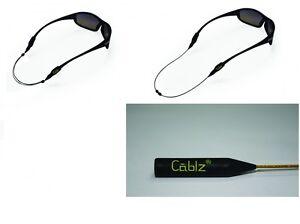 """Cablz Zipz Colorz Sunglass Retainer - 14"""" Black/Gold"""