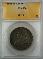 1834 Bust Silver Half Dollar 50c ANACS EF-45 XF Coin Large Date Large Letters