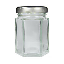 50 SMALL HEXAGONAL GLASS JARS 110ML WITH SILVER LIDS-WEDDING FAVOURS JAM HONEY