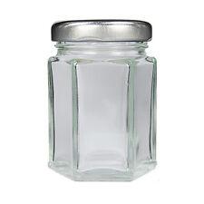50 SMALL HEXAGONAL GLASS JARS 110ML SILVER LIDS-WEDDING JAM HONEY NUTS SPICES