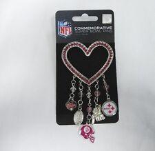 PITTSBURGH STEELERS Logo NFL Pink Rhinestone Silver Heart 5 Charm Brooch Pin NEW