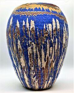 "Vintage Ozark Roadside Tourist Pottery Drip Swirl Glaze 10"" Vase 1930's"