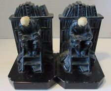 Antique JB Hirsch Scholar Librarian Man Reading at Library Bookends on Ladder