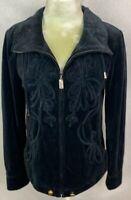 ST JOHN Sport Womens Black Velour Full Zip Jacket Size Small Pockets Drawstring