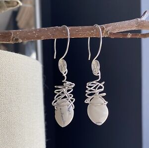 White Mookaite Oval Stone And Silver Earrings , Handmade