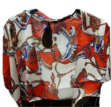 Womens Mary Scarf Print Satin Choker Blouse Size 12