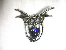 WICKED SPINY WING DRAGON COBALT BLUE GLASS ORB BALL PEWTER PENDANT ADJ NECKLACE
