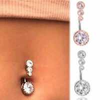 Stainless Steel Crystal Belly Button Navel Jewelry Body Piercing Zircon