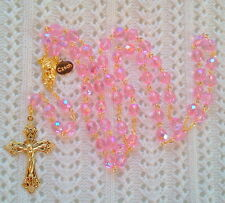 PINK AB CRYSTAL ROSARY - 18K GOLD PLATED MADE IN CZECH