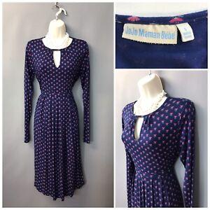Jojo Maman Bebe Navy Floral Maternity Nursing Belted Jersey Dress Small