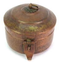 19c Antique Unique Collectible Heavy Copper Metal Chapatti/Bread Box. G66-520 US