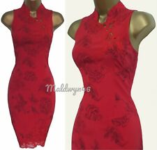 KAREN MILLEN ✩ STUNNING RED FLORAL PRINT SILK LACE ORIENTAL PENCIL DRESS ✩ UK 8