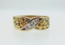 24K! Golden Nuggets Genuine Diamonds Solid 14K Yellow Gold MEN'S Ring Size 11