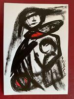 SEVARD Abstrakte Komposition Gemälde Zeichnung A4 Original Signiert Unikat N460