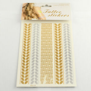 Gold Temporary Tattoo Sheet - Halloween, Party, DIY, Costume, Gift