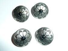 "Four Concho Style Shank Buttons Antique Silver & Black w/ Center Black Cab 5/8"""