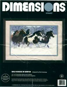 DIMENSIONS 'Wild Horses in Winter' Crewel Embroidery Kit