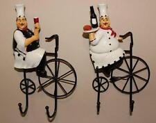 New Set of 2 Fat Chef Hooks Fat Chef on Bike Wall Hooks