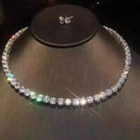 40Ct Round Brilliant Cut Diamond Tennis Necklace 14K White Solid Gold Finish