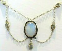 Beautiful Art Nouveau Deco Sterling Silver Moonstone Festoon Necklace 16x24mm