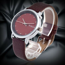 Fashion Casual Women Girl's Quartz Watch Brown PU Leather Sport Analog Case Hour