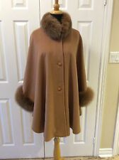 Camel Cashmere Wool cape with Camel fox fur Collar and Cuff Trim LINED