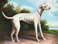 """Italian Grey Hound Hand Painted 20""""x 24"""" Art Oil Painting Signed"""