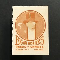 Poster Stamp * USA * 1915 Brown Brothers Tailors Furriers Furs Minneapolis