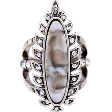 Ring Silber Art Deco Filigran Oval Grau Retro Stil T53 Z3