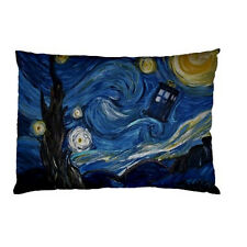 VAN GOGH STARRY NIGHT TARDIS POLICE BOX DR WHO Throw bed pillow case 87538568
