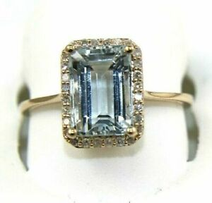 3.10CT Emerald Cut Aquamarine & Diamond Halo Lady's Ring 14K Rose Gold Finish