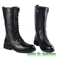Mens Punk Gothic Round Toe Lace UP High Top Combat Mid Calf Boots Military Shoes