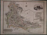 1823 Grande Datato Mappa Dumbartonshire John Thomson Atlas Di Scozia Dumbarton