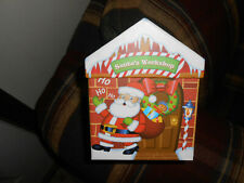 "DECORATIVE CHRISTMAS GIFT BOX paper board construction 5""x5""x5"" good condition"