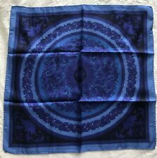"NWT VERSACE 100% silk Italy Italian women scarf blue black 24""x24"" $210"