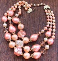 Vintage Three Strand Graduated Pastel & Pink Beaded Bib Necklace 17.5