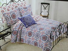 3 pcs Cynthia Rowley Twin Quilt Sham & Decorative Pillow - Red White Blue NEW