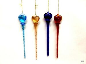 24 Glass Drops to Hang Twisted At Headrest with Heart 4 Various Colours