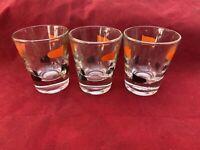 Vintage Trio (3) Of Retro Design Shot Glasses With Gold, Orange, & Black Paint