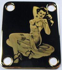 CUELLO PLACA - Pines hacia arriba y espejo - oro para guitarra bajo -made en USA