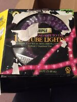 Purple Tube Lights 28 Ft New Damaged Box Halloween Decoration In/Outdoor