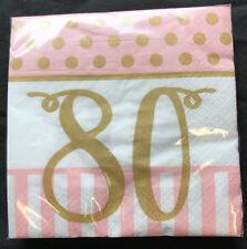 20 x Pink Chic Age 80 Birthday Napkins Pink & Gold 30th Birthday Party Napkins