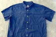 Patagonia organic cotton blend short sleeve shirt Men's L dark blue pin stripe
