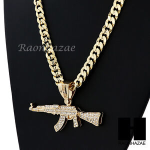 HIP HOP Iced AK-47 GUN BIG PENDANT DIAMOND CUT CUBAN LINK CHAIN NECKLACE N4