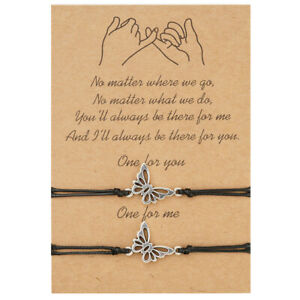 Butterfly Friendship Lover Couple Charm Card Wish You Me Promise Bracelet Gift